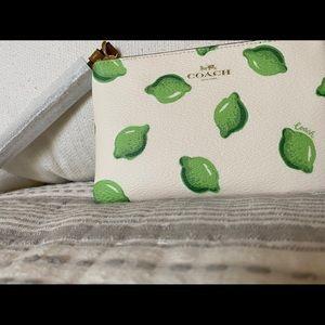 Corner Zip Wristlet with lime Print
